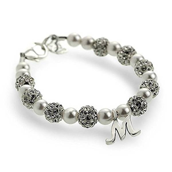 White Pave Beads Swarovski Pearls With Sterling Silver Script Initial Bracelet