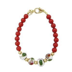 Red pearl with white green and red cloisonne bead bracelet