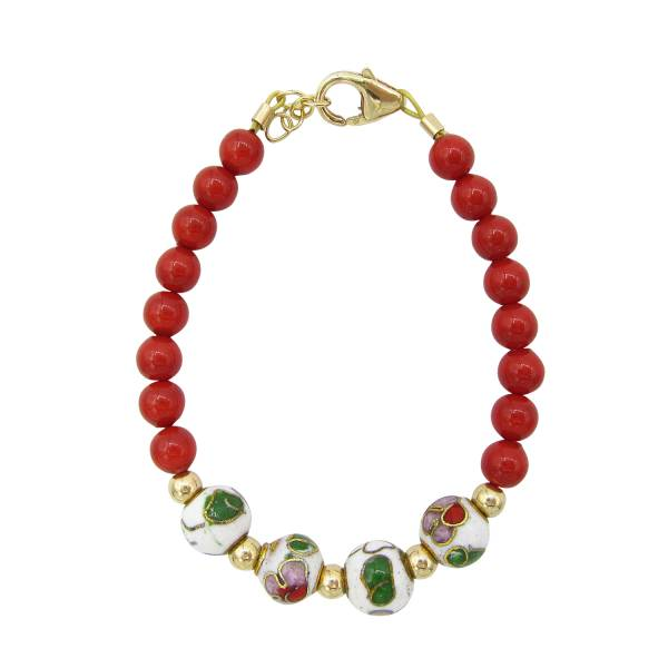 Red pearl with white green and red cloisonne bead bracelet 1
