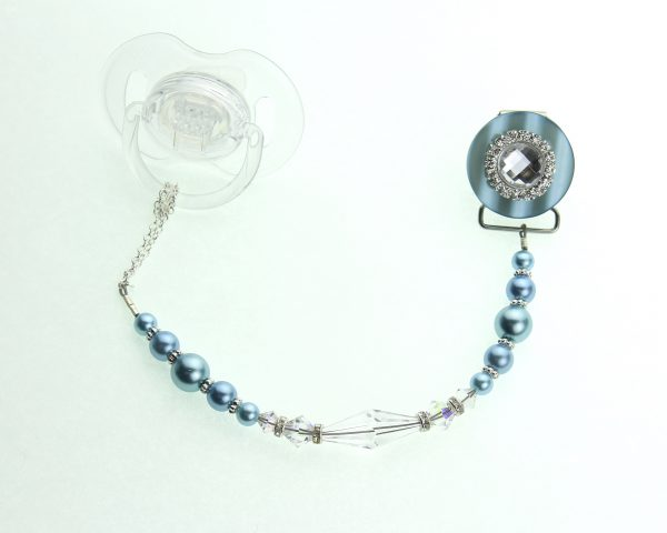 Blue Blingy Swarovski Crystal and Pearl Pacifier Clip