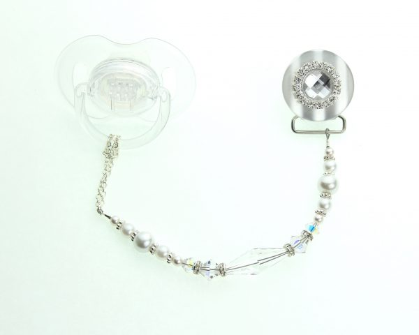 Clear Blingy Swarovski Crystal and Pearl Pacifier Clip