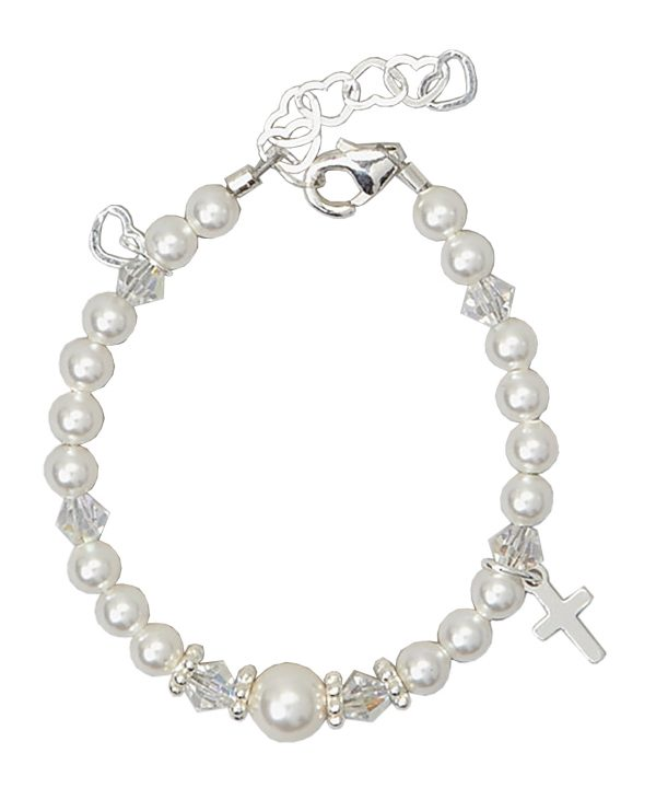 Swarovski White Pearls and Clear Crystals with Sterling Silver Cross Charm Bracelet
