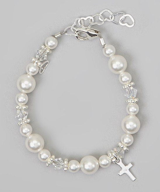 Two Sizes Swarovski White Pearls and Clear Crystals with Sterling Silver Cross Charm Bracelet