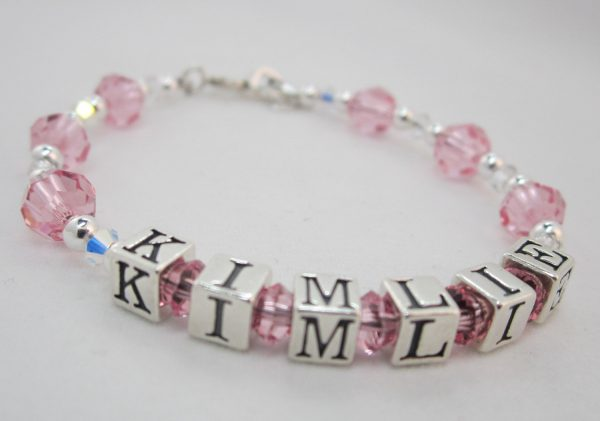Swarovski Pink and Clear Crystals Personalized Name Bracelet