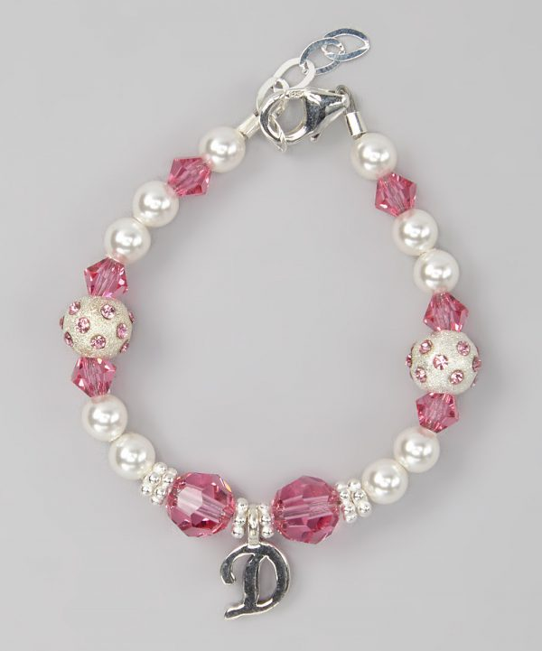 Personalized Swarovski White Pearls, Pink Crystals with Sterling silver  Initial Bracelet