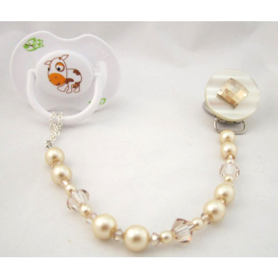Beige Diamond Pacifier Clip with Stunning Bling Beads and Pearls