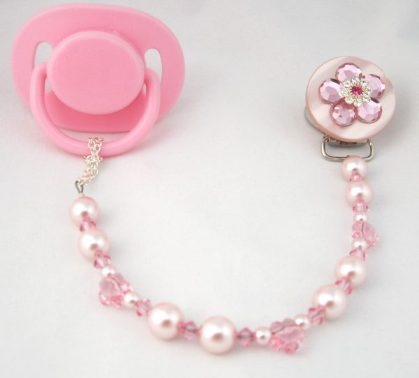 Pink Flower Pacifier Clip with Stunning Bling Beads and Pearls