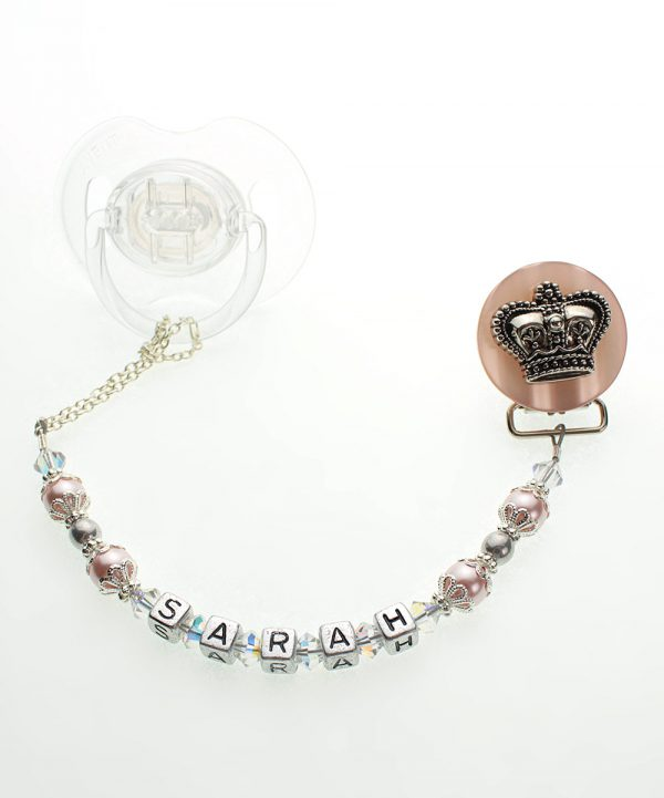 Pink Personalized Name Crown Pacifier Clip