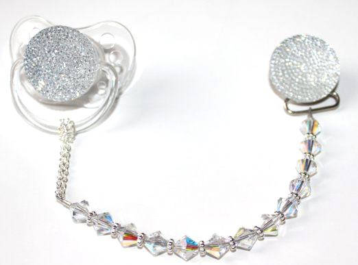Clear Sparkly Glitter with Swarovski Crystals Pacifier Clip