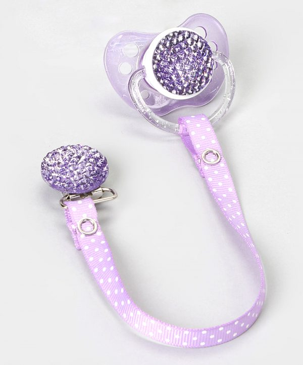 Purple Quilted Crystal Gift Set with Matching Polka Dot Ribbon