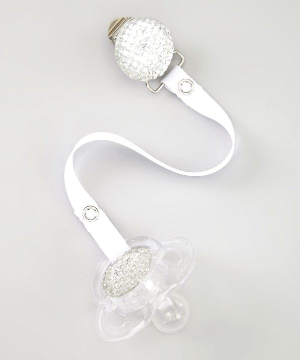 White Quilted Crystal Gift Set with Solid Matching Ribbon
