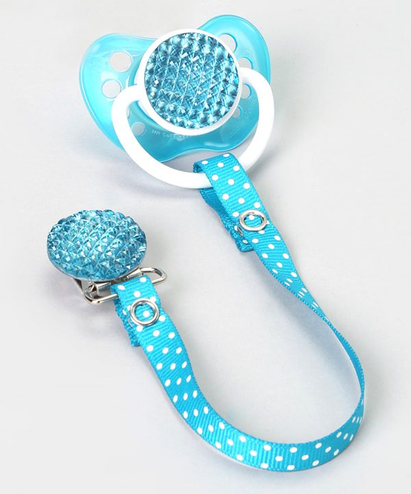 Teal Quilted Crystal Gift Set with Matching Polka Dot Ribbon