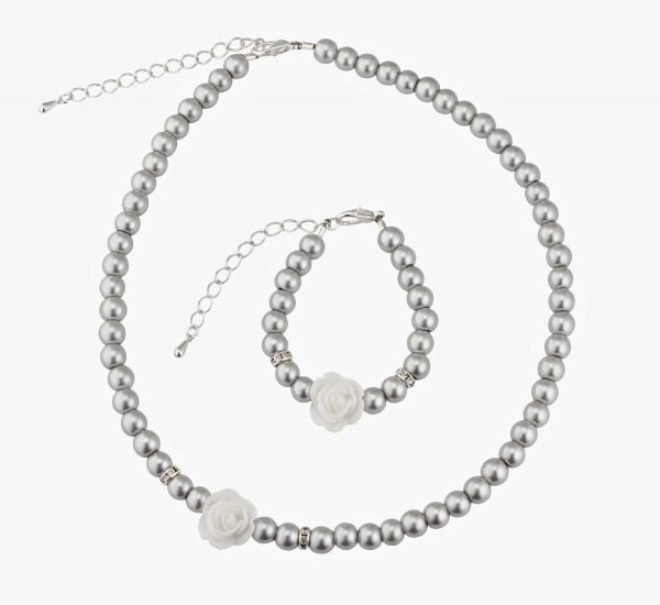 Grey Simulated Pearls Flower Girl Necklace and Bracelet Set
