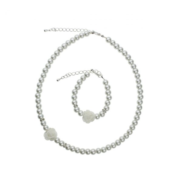 White Simulated Pearls Flower Girl Necklace and Bracelet Set