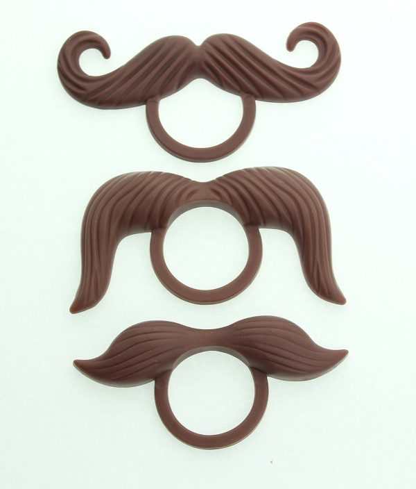 Brown Mustache Pacifier Rings