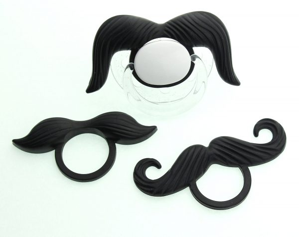 Black Mustache Pacifier with 3 Interchangeable Mustaches