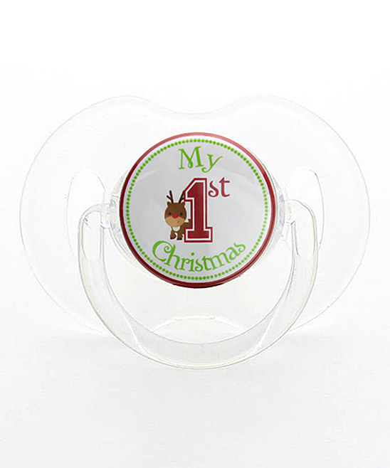 Red & Green 'My First Christmas' Reindeer Pacifier