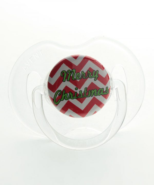 Red & White Chevron Merry Christmas Pacifier