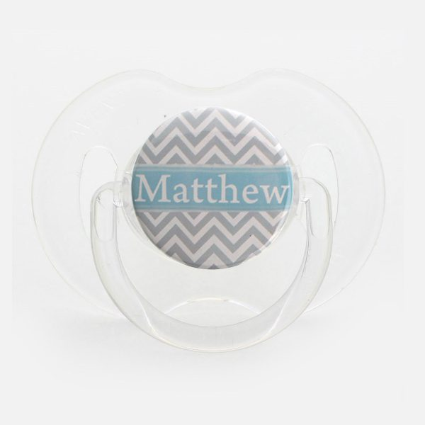 Personalized Name Grey and Blue Chevron Pacifier