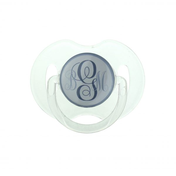 Grey Personalized Monogram Pacifier