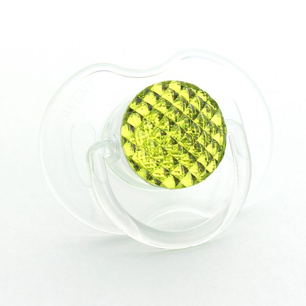 Neon YellowQuilted Crystal Bling Pacifier