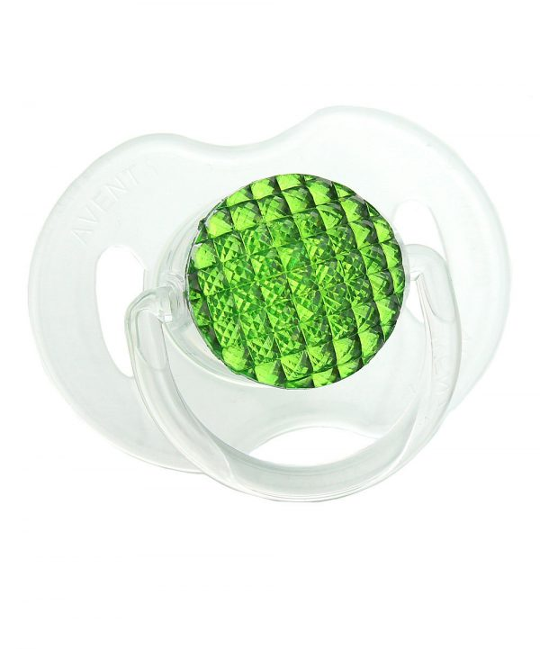 Neon Green Quilted Crystal Bling Pacifier