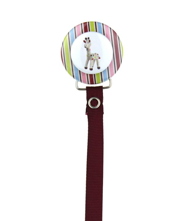 Giraffe with Multi Color Stripes 3D Pacifier Clip