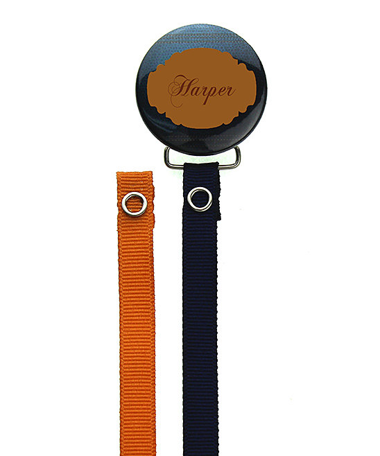 Personalized Name Navy & Brown Leather Look Pacifier Clip with Two Matching Ribbons