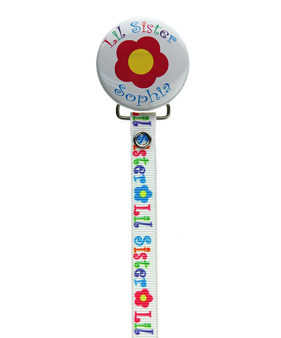 Personalized Name Daisy Lil Sister Pacifier Clip
