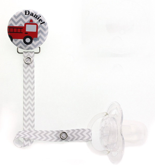 Personalized Name Grey Chevron Fire Truck Pacifier Clip