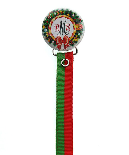 Personalized Monogram Holiday Wreath Pacifier Clip