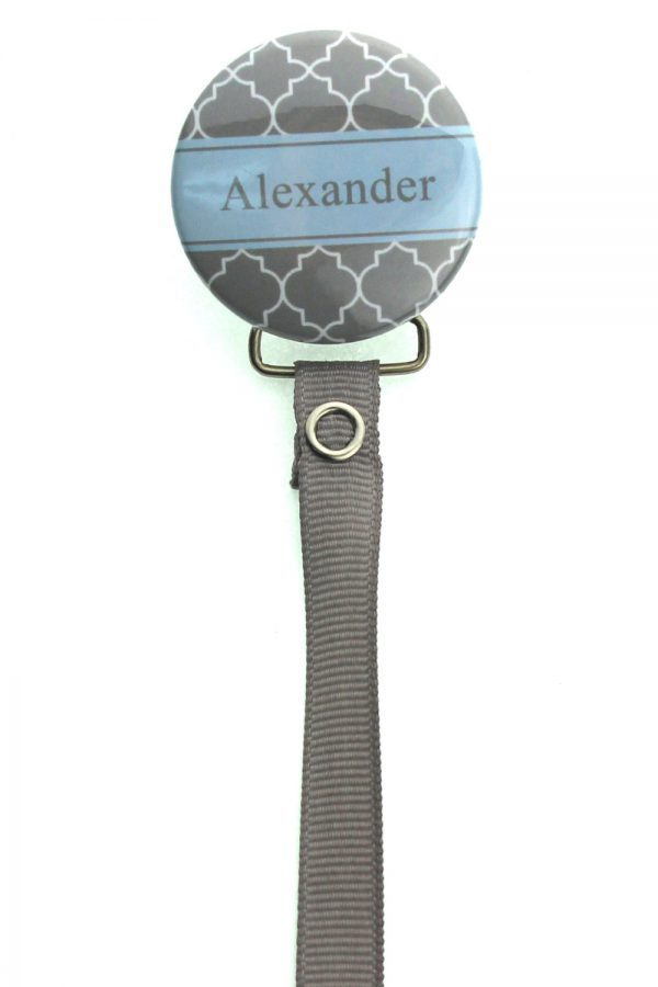 Personalized Name Grey Moroccan Tile Pacifier Clip