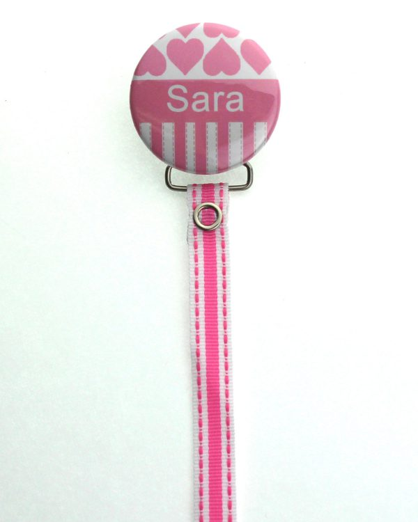 Personalized Name Hearts Pacifier Clip