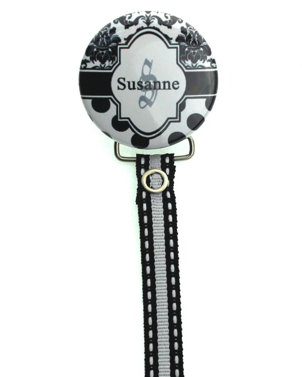 Personalized Name Black & White Damask Pacifier Clip