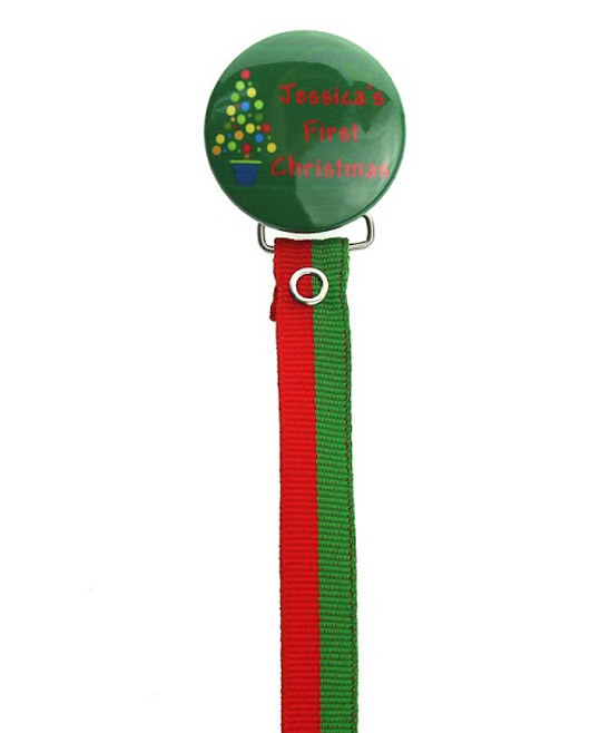 Personalized First Christmas  Pacifier Clip