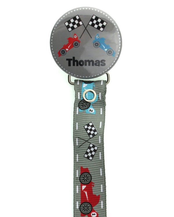 Personalized Name Racing Car Pacifier Clip